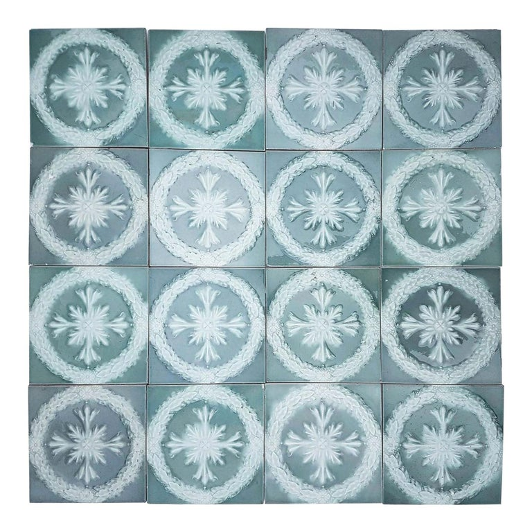 This is an amazing set of 30 original Art Deco handmade tiles. A beautiful relief and color. With a stylish design. These tiles would be charming displayed on easels, framed or incorporated into a custom tile design. 