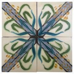 1 of the 30 Sets of 4 Antique Tiles, Céramiques d 'Hemixem, Gilliot Frères, 1930