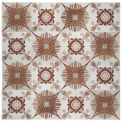 1 of the 30 Unique Antique Tiles Art Deco Pattern, Le Claive, circa 1920