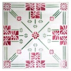 1 of the 32 Unique Antique Art Deco Tiles, Manufactured Around 1930