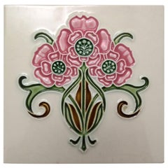1 of the 35 Authentic Glazed Art Nouveau Relief Tiles, Gilliot, circa 1920s