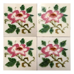 1 of the 35 Authentic Glazed Art Nouveau Relief Tiles Rose, Belga, circa 1930s