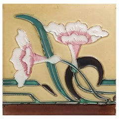 1 of the 38 Unique Antique Relief Tiles with Flower, France, circa 1900