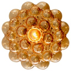 1 of the 4 Amber Bubble Glass Pendant Lamps by Helena Tynell