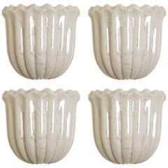 1 of the 4 Doria Wall Sconces Tulip shape, Opal Clear Textured Glass and Brass