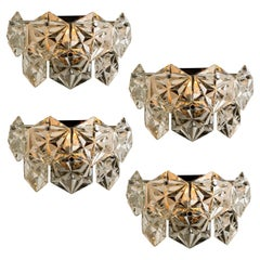 1 of the 4 Faceted Crystal and Chrome Sconces by Kinkeldey, Germany, 1970s