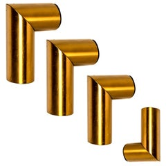 1 of the 4 Geometrical Brass Sconces by Nanda Vigo for Arredoluce, Italy, 1970