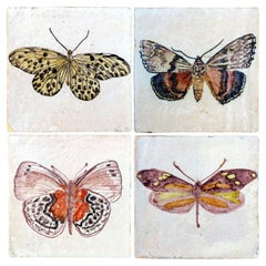 1 of the 4 Handmade Majolica Butterfly Tiles Made in Italy