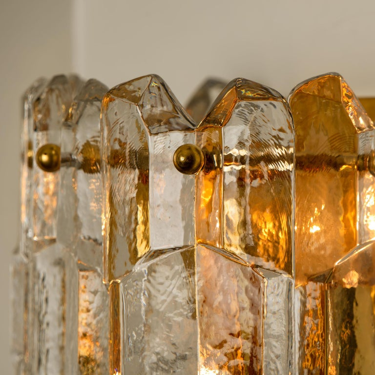 Late 20th Century 1 of the 4 J.T. Kalmar 'Palazzo' Wall Light Fixtures Gilt Brass and Glass For Sale