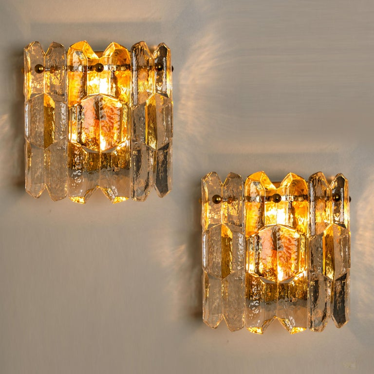 Gold Plate 1 of the 4 J.T. Kalmar 'Palazzo' Wall Light Fixtures Gilt Brass and Glass For Sale