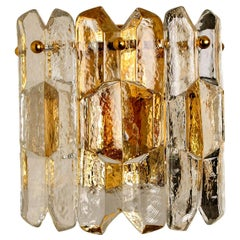 1 of the 4 J.T. Kalmar 'Palazzo' Wall Light Fixtures Gilt Brass and Glass