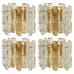 1 of the 4 Kalmar Ice Glass Wall Sconces 2 Tiers by J.T. Kalmar, Austria, 1970s