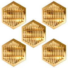 1 of the 4 Large Venini Style Glass Sconces with Triedi Crystals, 1969