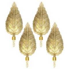 1 of the 4 Large Wall Sconces Barovier & Toso Gold Glass Murano, Italy, 1960