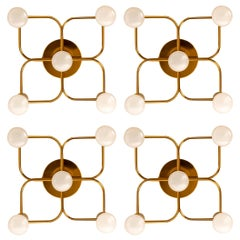 1 of the 4 Leola Sculptural Brass 5-Light Ceiling or Wall Flushmount, 1970s
