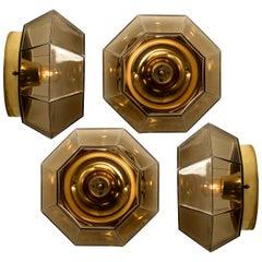 1 of the 4 Limburg Geometric Smoked Glass and Brass Flushmounts/Wall Lights