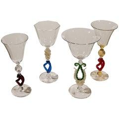 1 of the 4 Murano Venetian Crystal Signoretto Wine Glasses
