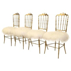 1 of the 4 of Italian Massive Brass Chairs by Chiavari, Upholstery Iceland Wol