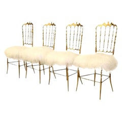 1 of the 4 of Italian Massive Brass Chairs by Chiavari, Upholstery Iceland Wool