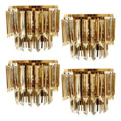 1 of the 4 Palwa Murano Glass and Brass Sconces, Austria, 1960