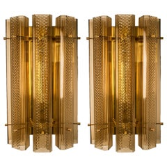 1 of the 4 Piars of Extra Large Murano Wall Sconces/Wall Lights Glass and Brass