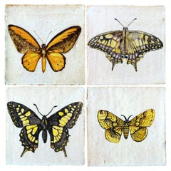 1 of the 4 Unique Handmade Majolica Butterfly Tiles Made in Italy