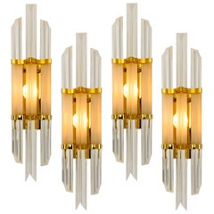 1 of the 4 Venini Style Murano Glass and Brass Sconces, Italy