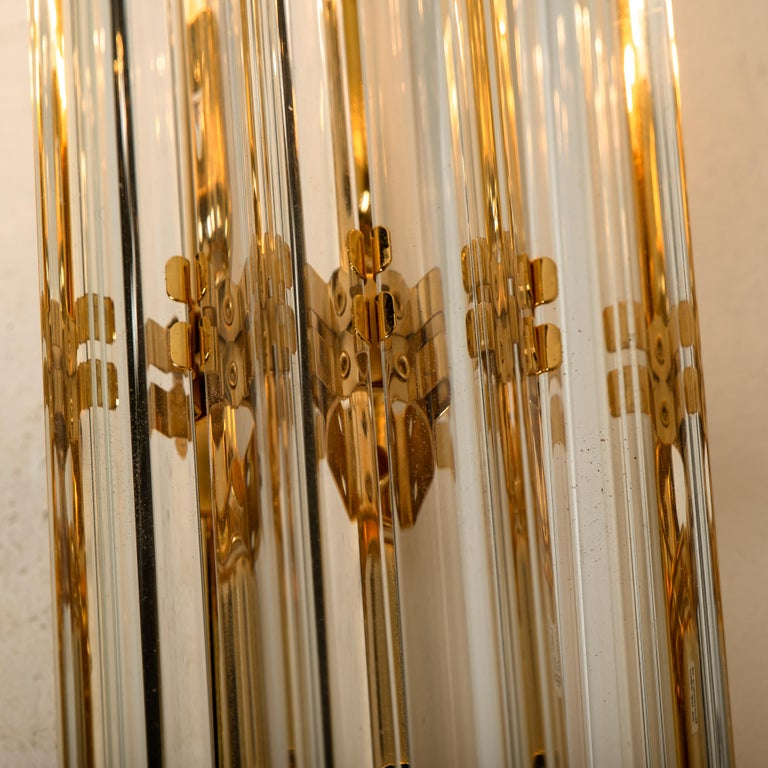 1 of the 4 Venini Style Murano Glass and Gilt Brass Sconces, Italy For Sale 4