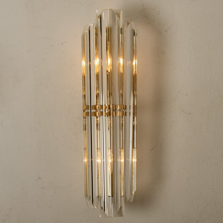 Italian 1 of the 4 Venini Style Murano Glass and Gilt Brass Sconces, Italy For Sale