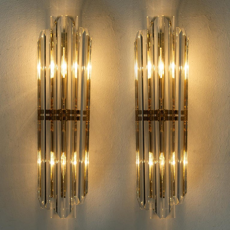 Plated 1 of the 4 Venini Style Murano Glass and Gilt Brass Sconces, Italy For Sale