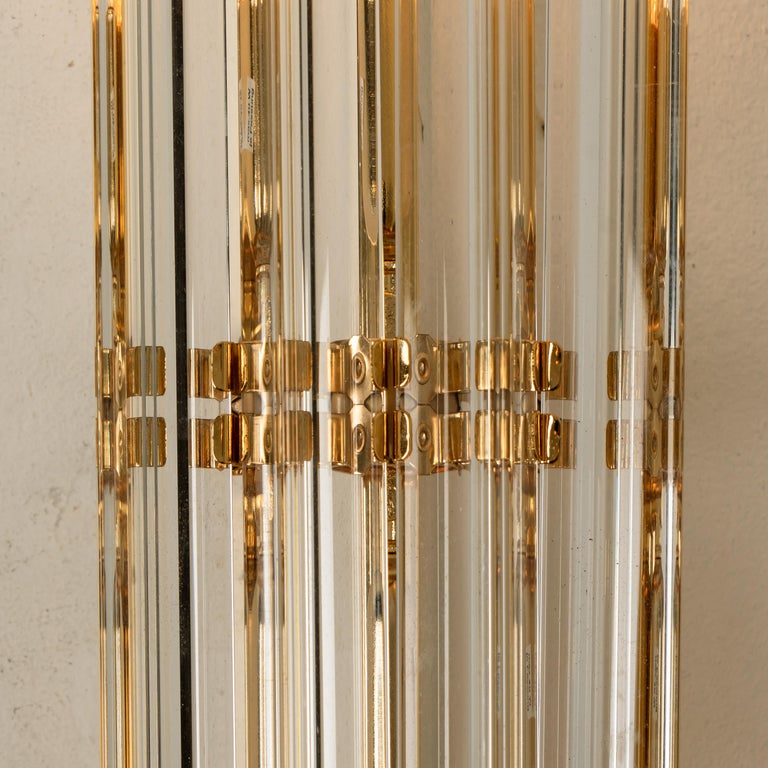 1 of the 4 Venini Style Murano Glass and Gilt Brass Sconces, Italy For Sale 1