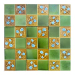 1 of the 40 Art Deco Glased Relief Tiles by Gilliot Frères, Hemiksem, circa 1920