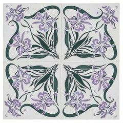 1 of the 40 Art Nouveau Wall Tiles Marque de Fabrique CF, Devres, France, 1920