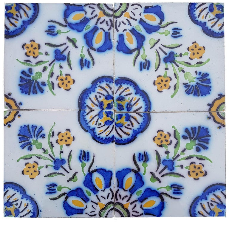 Glazed 1 of the 410 Handmade Antique Ceramic Tiles by Devres, France, 1910s For Sale