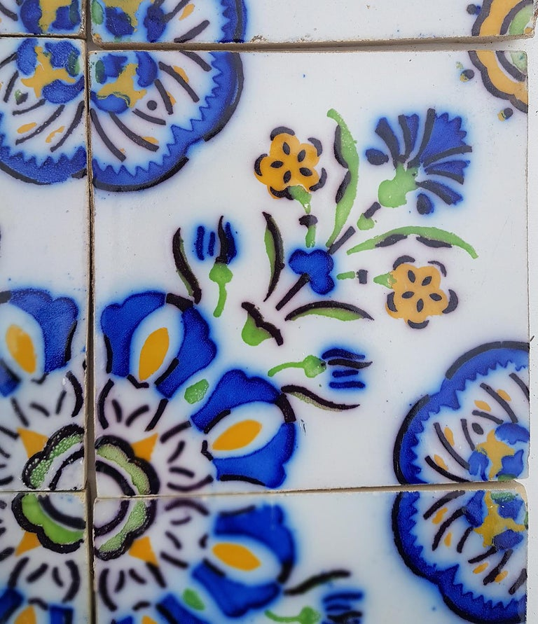 1 of the 410 Handmade Antique Ceramic Tiles by Devres, France, 1910s In Good Condition For Sale In Rijssen, NL