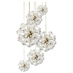 1 of the 5 Cascade Brass and Glass Chandeliers in the Manner of Emil Stejnar