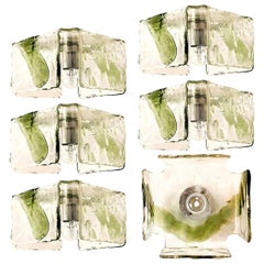 1 of the 5 Green Hand Blown Flush Mounts, Wall Sconces from J.T. Kalmar, 1960s