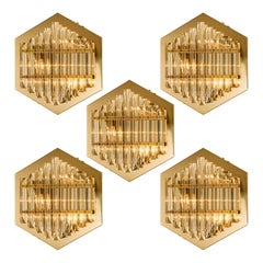 1 of the 5 Large Venini Style Glass Sconces with Triedi Crystals, 1969