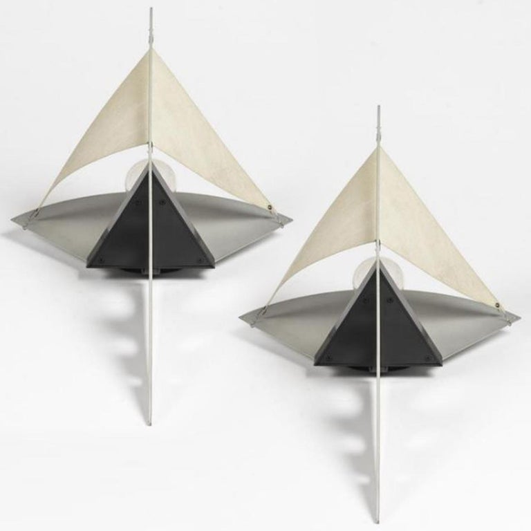 Late 20th Century 1 of the 5 Pairs Postmodern Filicudara Sconce by S. Lombardi for Artemide, 1980 For Sale