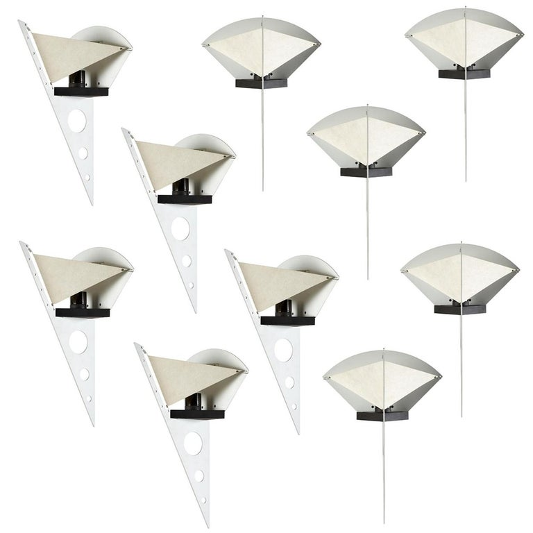 Aluminum 1 of the 5 Pairs Postmodern Filicudara Sconce by S. Lombardi for Artemide, 1980 For Sale