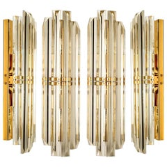 1 of the 5 Venini Style Murano Glass and Gilt Brass Sconces, 1960s