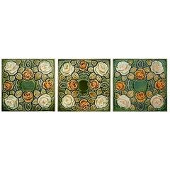 1 of the 50 Antique Glazed Art Nouveau Tiles, circa 1920
