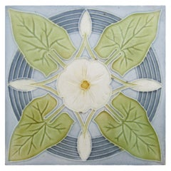 1 of the 55 Pieces of Jugendstil Tiles with Greyblue Bindweed, circa 1940