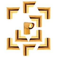 1 of the 6 Geometrical Brass Sconces by Nanda Vigo for Arredoluce, Italy, 1970