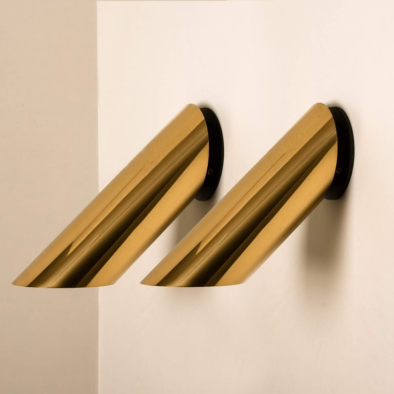 Italian 1 of the 6 Geometrical Rotating Brass Sconces in the Style of Nanda Vigo, 1970 For Sale