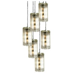 1 of the 6 Hand Blown Murano Pendant Lights, Model 4308, by Doria, 1970