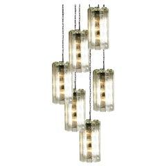 1 of the 6 Hand Blown Murano Pendant Lights, Model 4308, by Doria, 1970