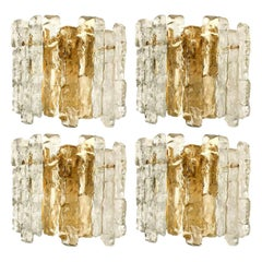 1 of the 6 Ice Glass Wall Sconces with Brass Tone by J.T. Kalmar, Austria