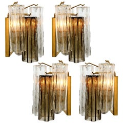 1 of the 6 J.T Kalmar Smoked and Clear Glass Wall Lights, Austria, 1960