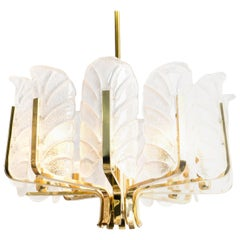 1 of the 6 Large Carl Fagerlund Glass Leaves Brass Chandelier by Orrefors, 1960s